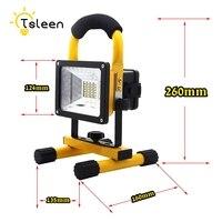 TSLEEN IP65 Waterproof LED Flood Light Rechargeable Spotlight 30W 3 Mode SOS Lamp 18650 Battery Refletor Led for Fishing Camping