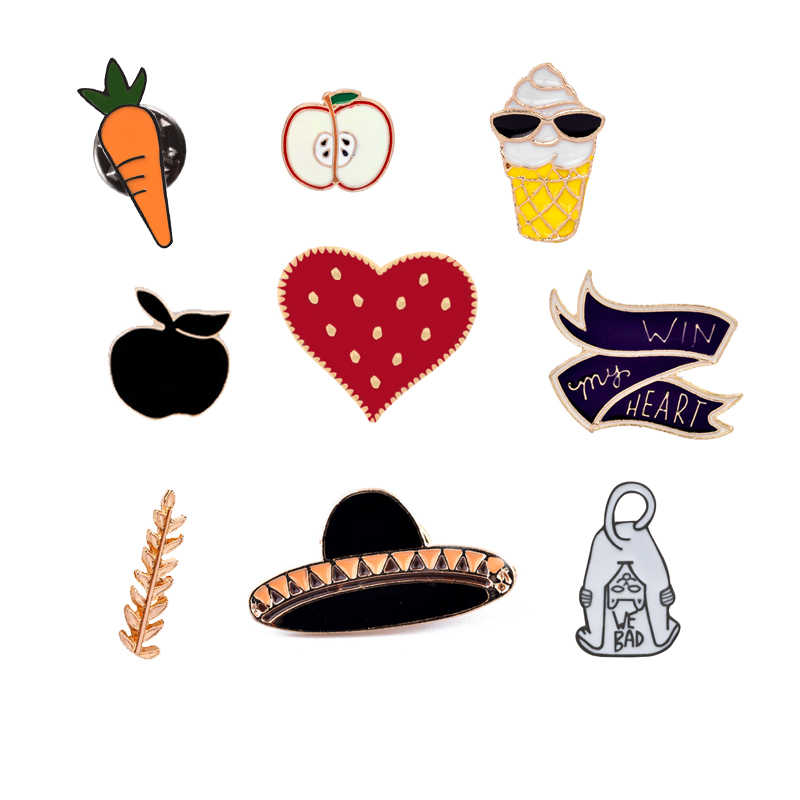 Fashion cartoon sieraden Gift voor Kids meisje Broches Wortel Kat Apple Liefde Knop Denim revers pin badge Emaille Pins Freeshipping