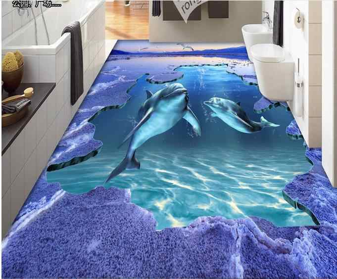 Ocean World 3d suelo delfín 3d papel de pared para sala de estar suelo de vinilo autoadhesivo papel pintado de lujo
