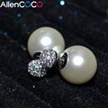 Trendy Accessory Double Face Earrings With 2 Way To Wear Synthetic Pearl With Crystal Double Side Earing For Girls Shipping Free