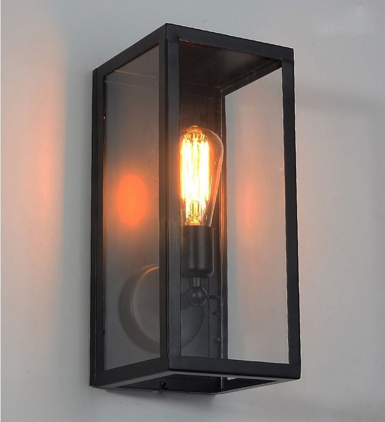 Outdoor Lighting Sconce Clear Class Cover E27 Black Metal Frame Glass Wall Lamp clear glass cover outdoor retro wall light metal frame glass wall lamp lighting fixture aisle wall sconce