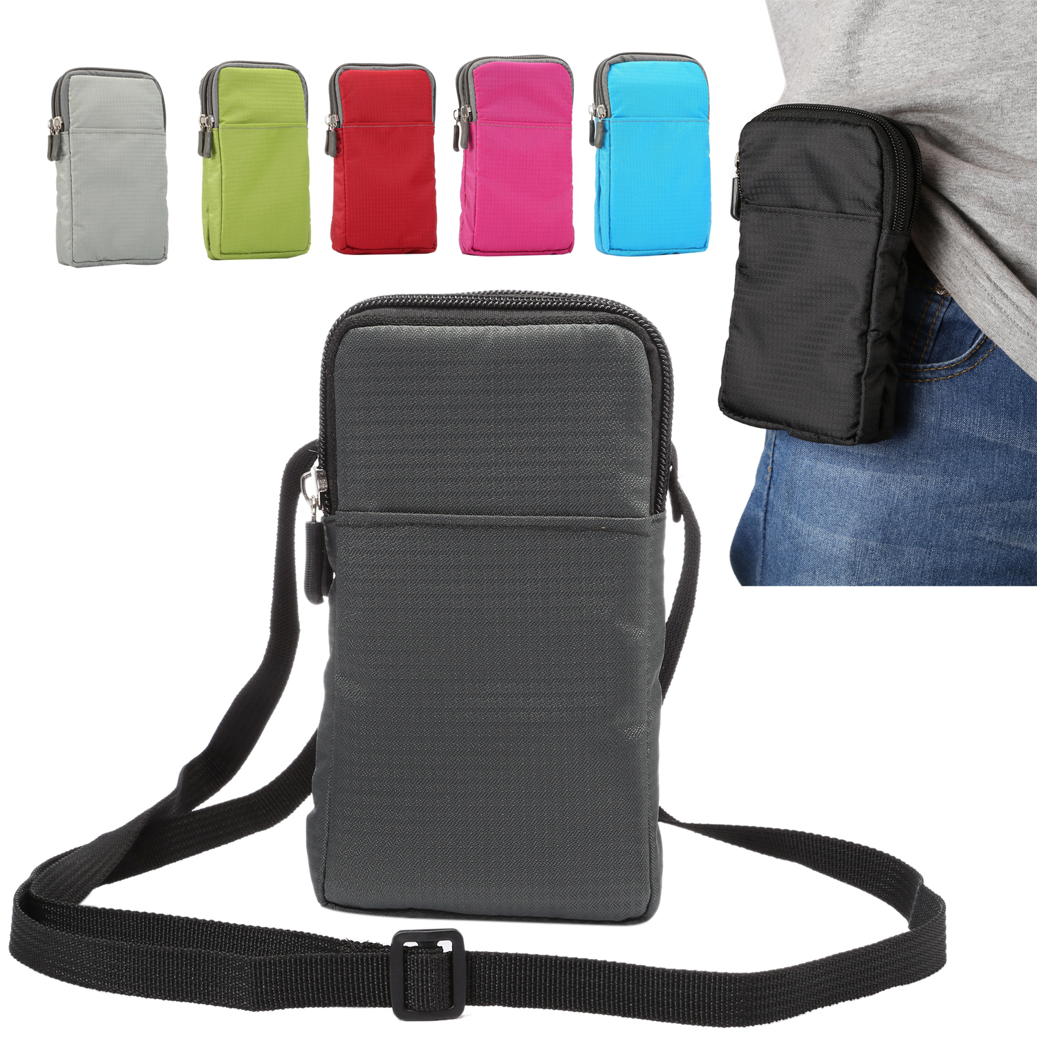 Woman Man Belt Clip Waist Pack Pouch Nylon Mobile Phone Wall