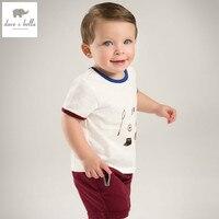 DB4919 dave bella yaz bebek erkek giyim setswhite üst şarap kırmızı şort çocuk set bebek elbise sevimli çocuklar setleri bebek kostümleri