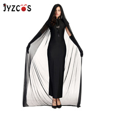 JYZCOS Black Ghost Witch Cosplay Costumes Halloween for Women Party Fancy Dress Purim Costume