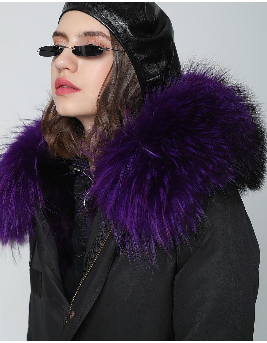 2019 Real Fur Coat Winter Jacket Women Long Parka Waterproof Big Natural Raccoon Fur Collar Hood Thick Warm Real Fox Fur Liner 67