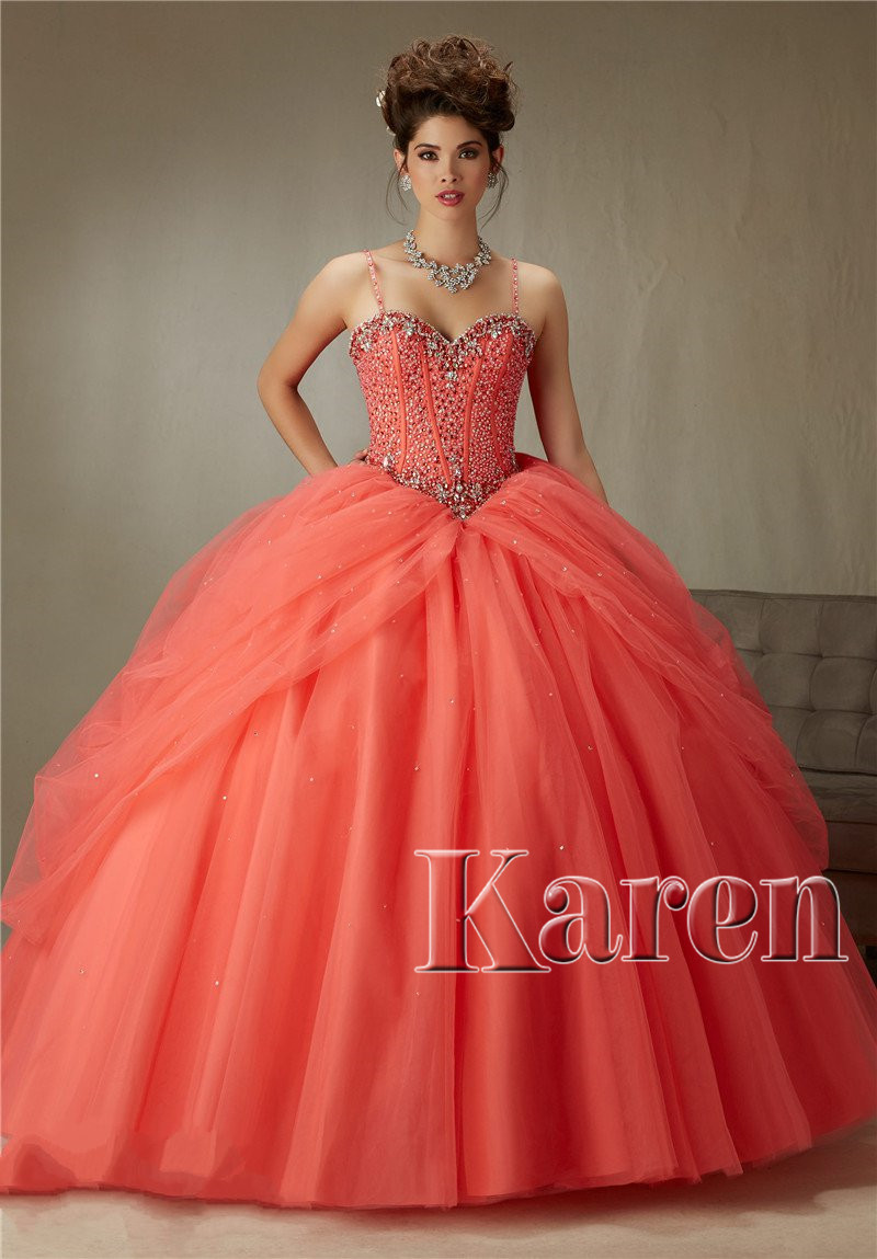 39bad9c3bc5 Coral Peach Quinceanera Dresses Ball Gown 2016 Custom Made Royal Blue Beaded  Pleated Dress 15 Years Sweetheart Beaded Bodice-in Quinceanera Dresses from  ...
