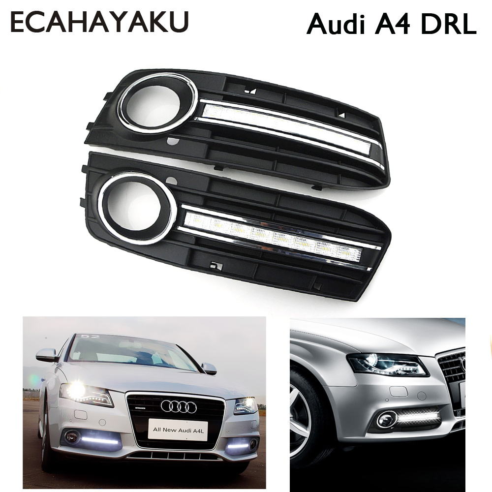 1 Pair Super bright Brand new style 12v led car DRL daytime running lights with fog lamp hole for Audi A4 2009 2010 2011 2012 1 set car styling 12v led white daytime running lights drl car driving lights fog lamp cover for audi q5 2010 2011 2012 2013