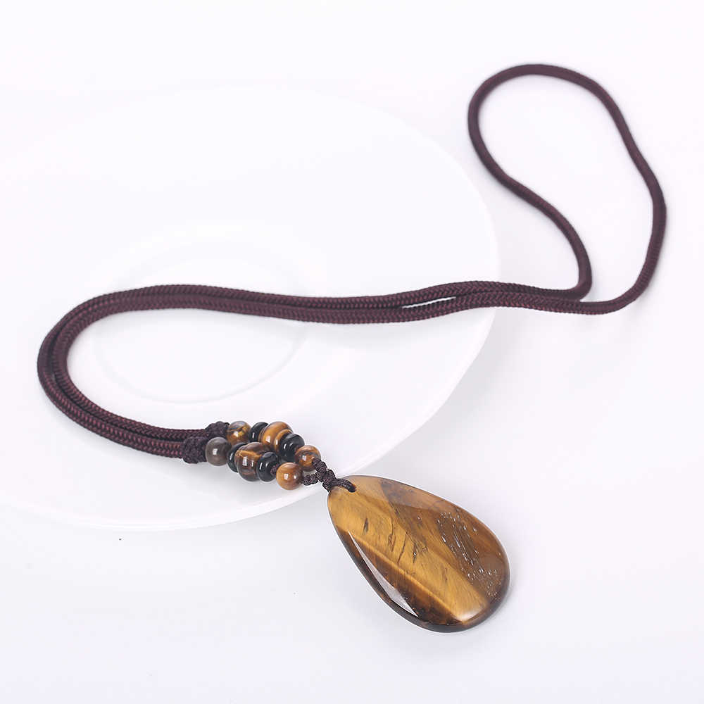 Yumten этническое женское длинное ожерелье тигровый глаз камень подвеска в виде капли воды Веревка Цепь модный свитер цепь женский Йога ювелирные изделия из бисера