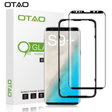 OTAO For Samsung Galaxy S9 Plus Case Friendly 3D Curved Full Cover Tempered Glass Screen Protector Installation Tray Positioner