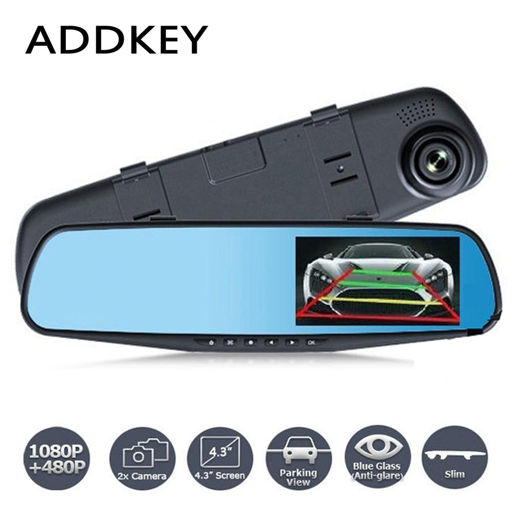 Prix pour Date Voiture Caméra Rétroviseur Auto Dvr Double Objectif Dash Cam Enregistreur Vidéo Registrator Caméscope FHD 1080 p Nuit Vision dvr