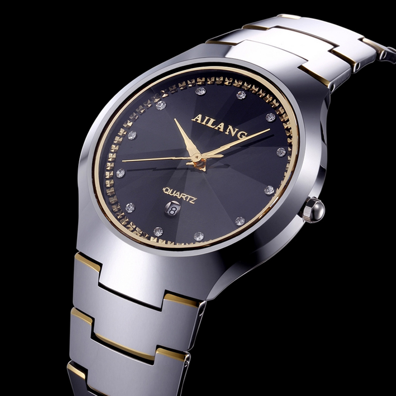 The new AILANG watch a couple of fashion luxury business full Mens waterproof watch female diamond tungsten quartz new business casual watch trend fashion business couple watch