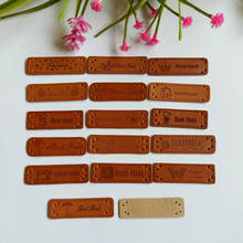 30PCs Hand Made Labels PU Leather Tags On Clothes Garment For for patchwork Bags Shoes Sewing Accessories
