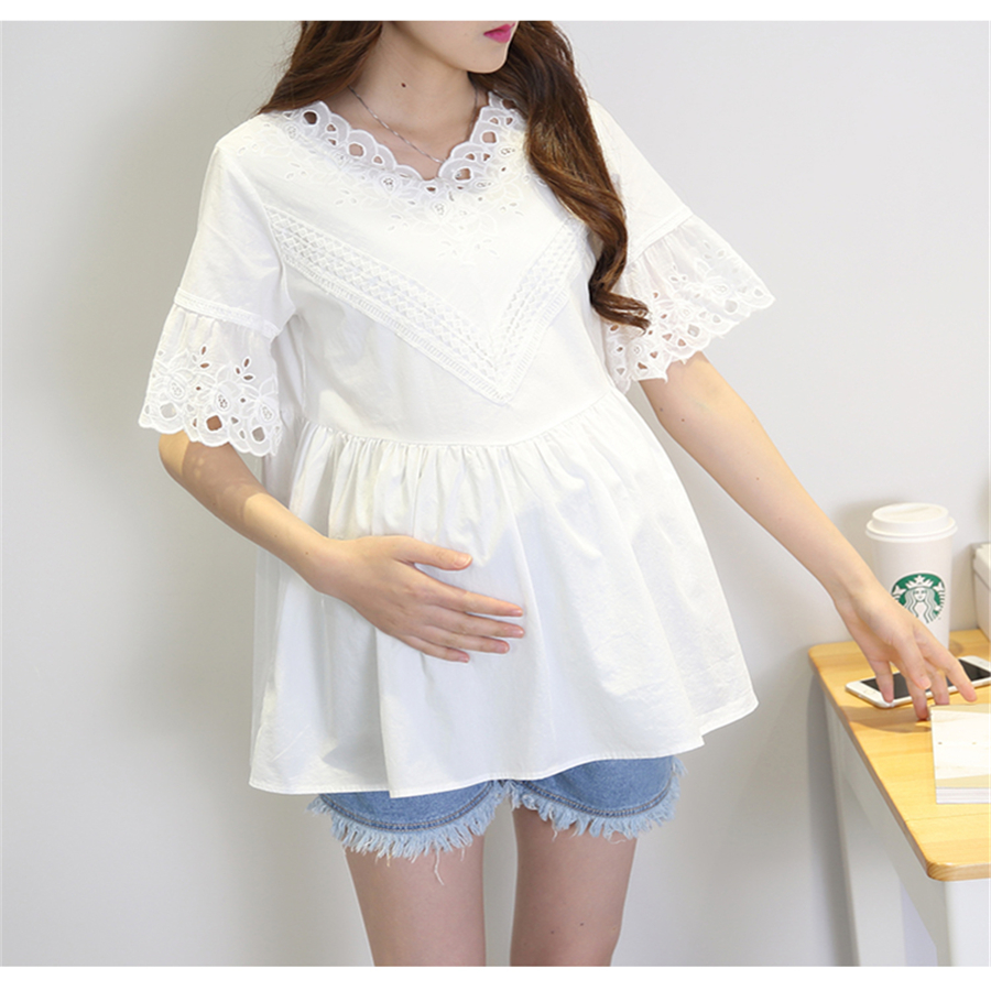 Fashion Pregnancy Maternity Clothes Short Sleeve Design Maternity Tops Pregnant Women T Shirt Casual Tops Hamile Giyim 70Z1048 fashion cotton padded maternity shirts autumn winter fashion thick knitted long sleeve pregnancy tops loose maternity clothes