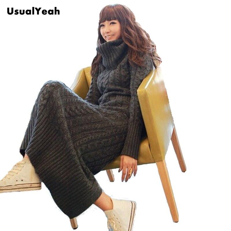 2016 Women Winter Turtleneck Knitted Long Dress Sweater Dress outerwear Twists Sweater Grey S M L MY0081 Free shipping