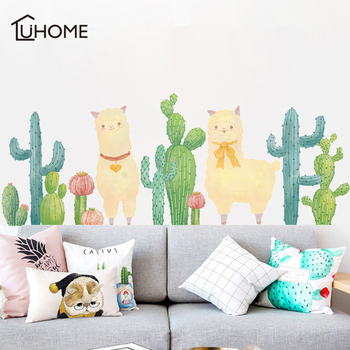 Cute Alpaca Cactus Green Plant Wall Stickers