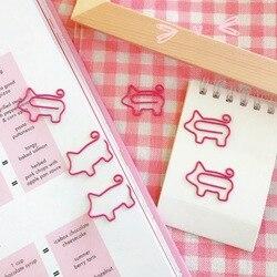 2 pçs/lote Porco Rosa Animal Clipe De Papel Marcador Escola Material de Escritório Papelaria Escolar Papelaria Presente