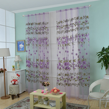 Fast shipment Floral Print Tulle Voile Door Window Rom Curtain Drape Panel Sheer Scarf Blue & Rom doors online shopping-the world largest rom doors retail ... Pezcame.Com