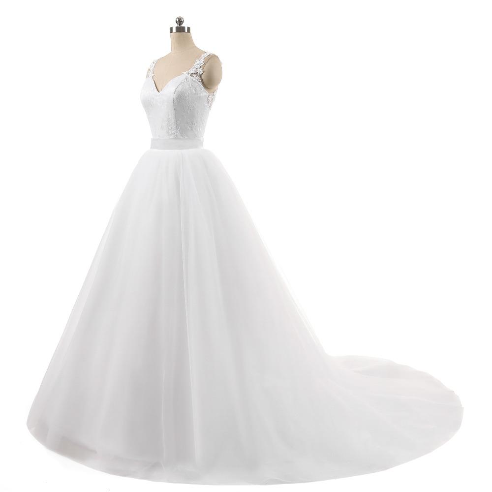 Lover Kiss Wedding Dress High Quality Ball Gowns Sleeveless Sweetheart Lace Body Detachable Train Real Image Vestido De Noiva 3