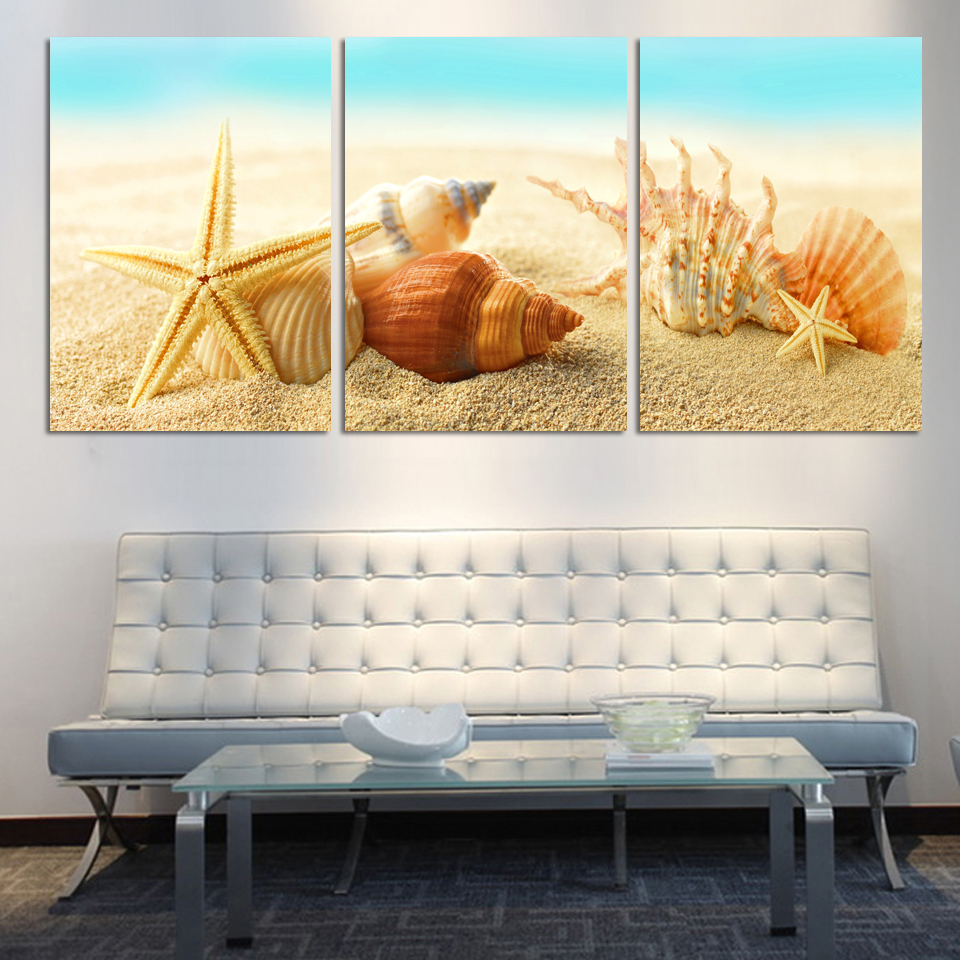HD Large Beach sea star and conch Canvas Seascapes Paintings 3 Piece Wall Art Coconut Home Decor Sea Pictureunique gift