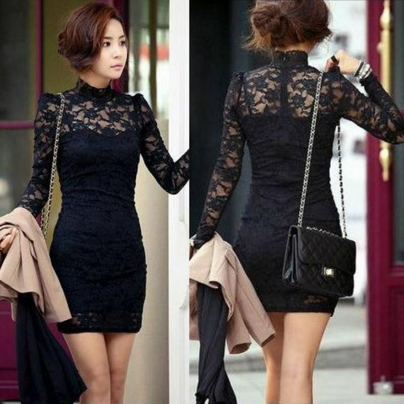 Black lace mini dress long sleeve
