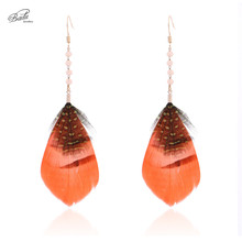 Badu Natural Feather Earring Colorful Long Dangle Earrings for Women Crystal Golden Hook Korean Style Jewelry Wholesale