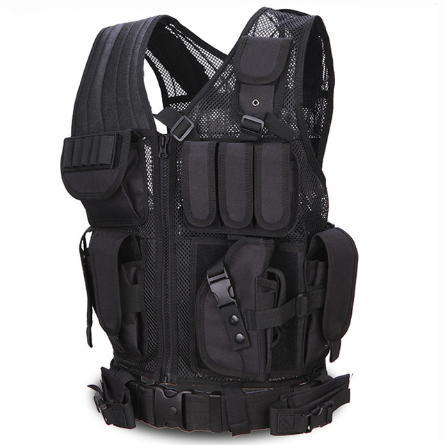 Hunting Tactical black Police Vest Military Army Body