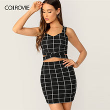 COLROVIE 黒十字グリッドタンクトップとスカート 2 点セット女性 2019 夏セクシーなノースリーブ女性 2 ピース衣装