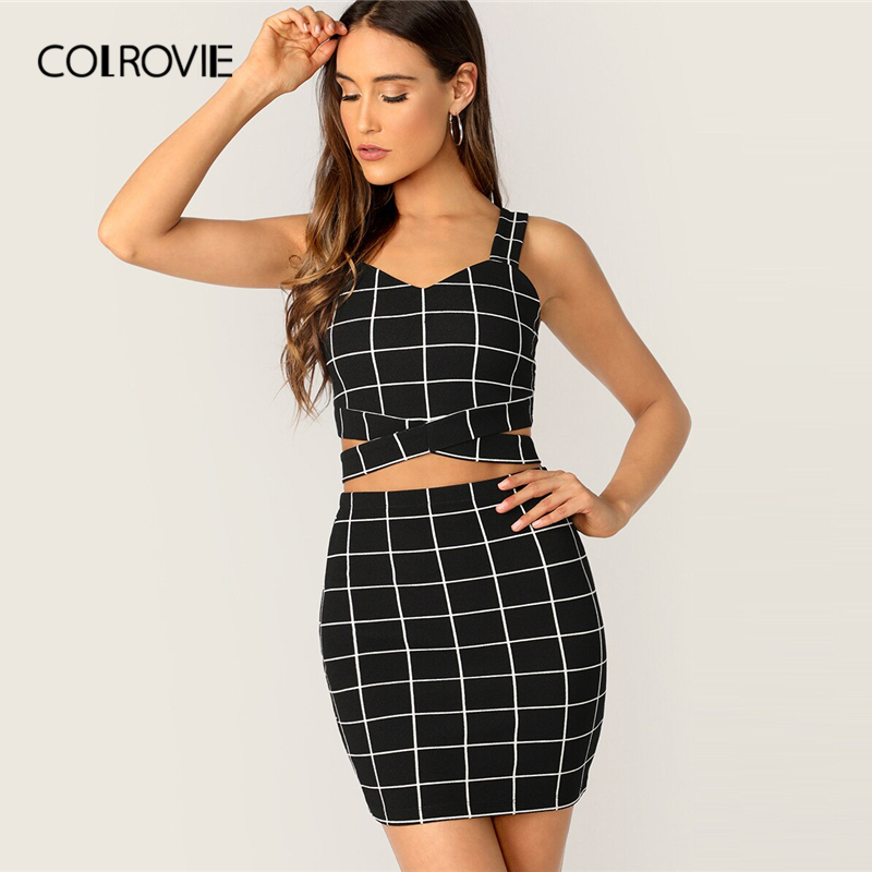 COLROVIE Black Criss Cross Waist Grid Tank Top With Skirt 2 Piece Set Women 2019 Summer Sexy Sleeveless Female Two Piece Outfits