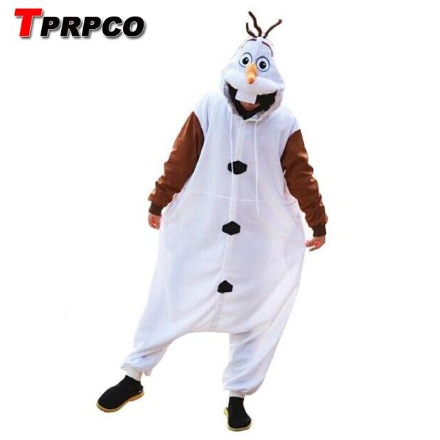 f118fe7f5ae6 TPRPCO Anime Olaf snowman Costume Pajamas Cosplay White jumpsuit Adult  Onesie Pyjamas Party Dress NL1601