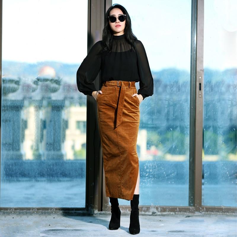 679c6b455 € 52.48 |Envío Gratis 2018 vintage PANA lado slit Slim falda de la cadera  para las mujeres estiramiento más tamaño S 2XL falda con cinturón en ...