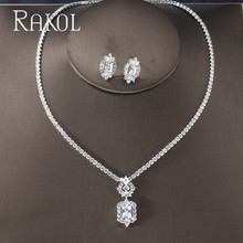 RAKOL Luxury Sparking Brilliant Cubic Zircon Clear Earrings Necklace Dinner Jewelry Set Wedding Bridal Dress Accessories