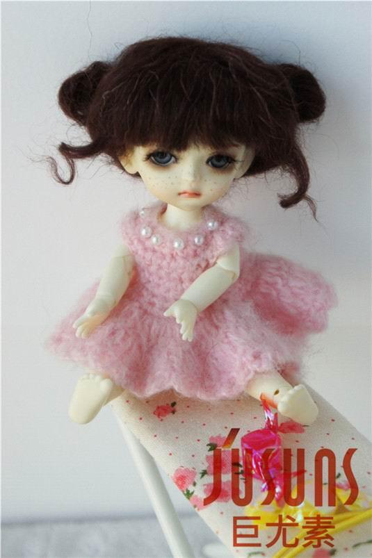 JD406 1/8 5-6 дюймов, парик для куклы BJD, кукольный парик, прекрасные мохеровые парики, Детские два пони, парик для маленькой куклы - Цвет: Coffee Black M7