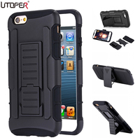 2 In 1 Impact Armor Hybrid Case With Kick Stand Belt Swivel Clip For Apple Iphone