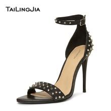 Studde Brand Women Sandals Black Open Toe High Heel A Cross Buckle Woman Shoes Quality Party Wedding Dress
