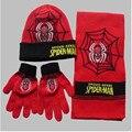 2016 niños del invierno de Spiderman sombrero bordado bufanda sombrero guantes piezas conjunto hombre de la muchacha niño hizo punto 3 unidades envío gratis