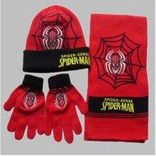 2016 enfants d'hiver chapeau Spiderman brodé chapeau écharpe gants pièce Set hommes filles bonnet de 3 peça livraison gratuite