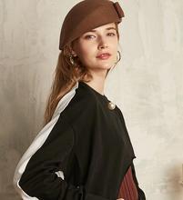 цена на 100% Wool Felt Beret Hat Women Vintage Elegant Lady Artist Flat Cap Bow Boina Feminino Hats For Girls Berets