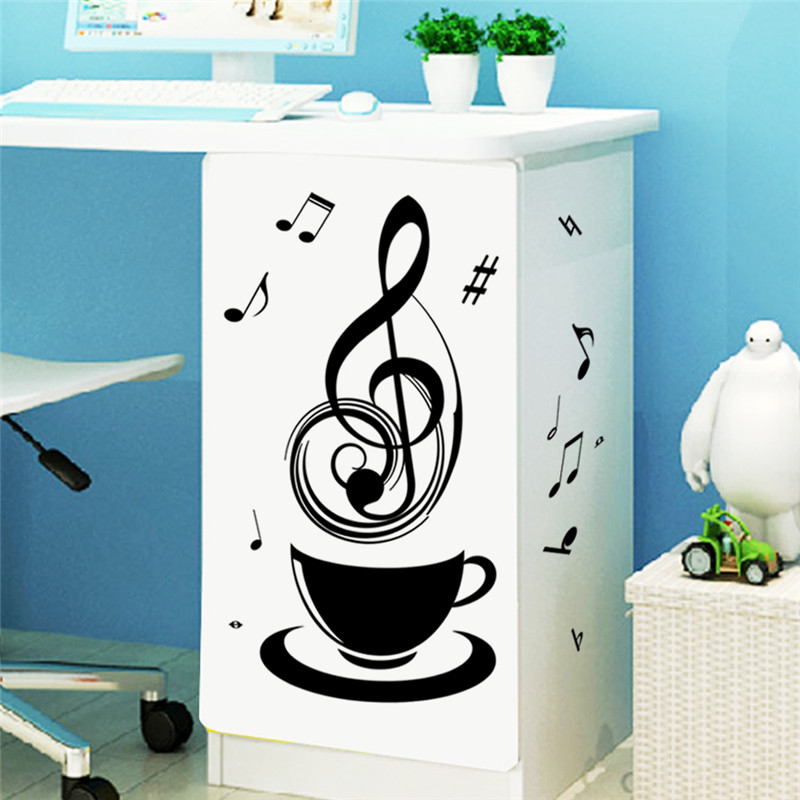 Relaxing Music Tea Coffee Cup Black DIY Wall Stickers Public Office Store Kitchen Decorative Home Decal Fashion Mural Sticker In From