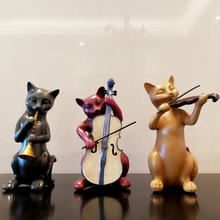 NEW Cute Animal resin cat musicians miniature Figurine Craft teraryum fairy garden miniatures Mini home decor accessories