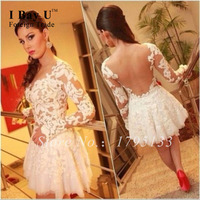 Vestidos De Graduacion Cortos Elegant White Lace Junior Prom Dresses Knee Length Dresses For Wedding Guests