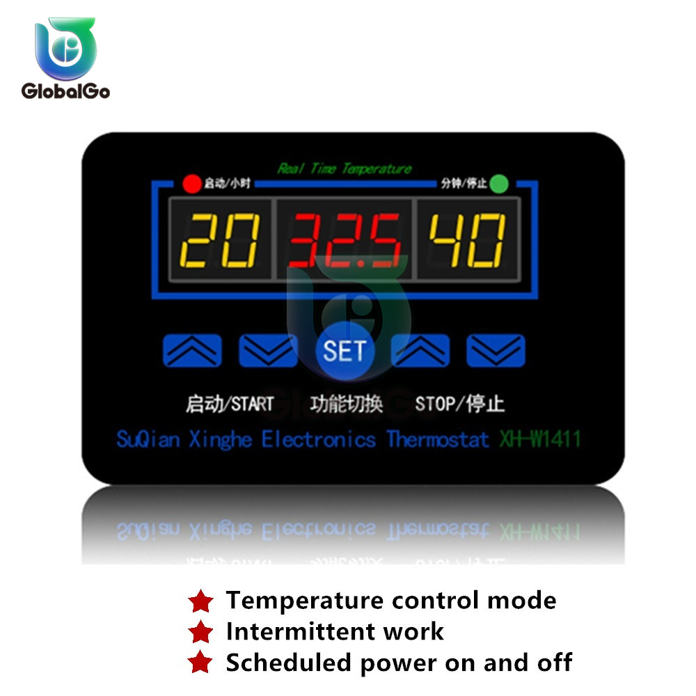 XH-W1411 LCD Three Display Digital Thermostat Multifunction Temperature Controller Sensor -55~120 Degrees Celsius AC110-220V 12V