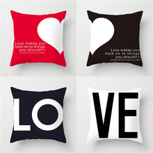 YVEVON Happy Valentines Day Pillow Cases Cushion Cover Polyester Heart Love Print Throw Home Decoration Pillowcase 45cm 18inch