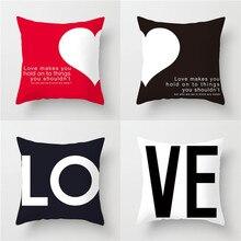цена на YVEVON Happy Valentines Day Pillow Cases Cushion Cover Polyester Heart Love Print Throw Home Decoration Pillowcase 45cm 18inch