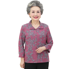 Grandma Mother Shirts Red Blue Green Flower Pattern Print Tops Women Round Collar Three Quarter Sleeve Blouses Button Front Top