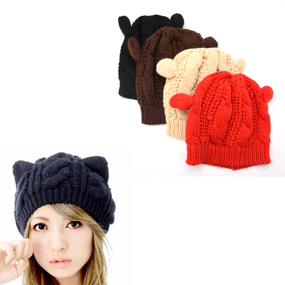 Fashion women   beanies   Lady Girls Winter wool makes hotspot Cat Ear Hat   Beanie   Female Warm Knitted   Skullies     Beanies   drop shipping