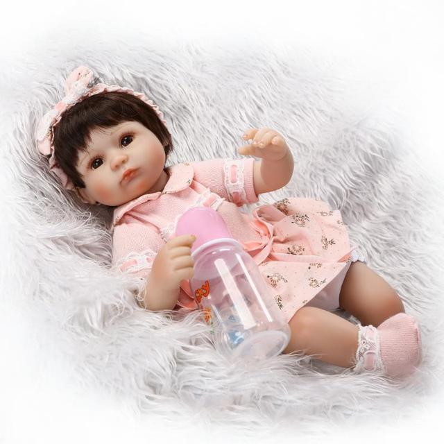 "Pursue 16""/40cm Realistic New Born Baby Doll Reborn Silicone Baby Dolls for Children Girls House Role Play Educational Doll Toys"