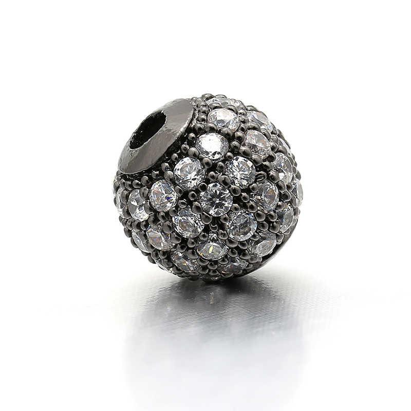 8mm Chất Lượng Tốt Nhất Brass Cubic Zirconia Vòng Spacer Hạt cho DIY Trang Sức Phụ Kiện Làm, Lỗ: 2mm, Mô Hình: VZ5