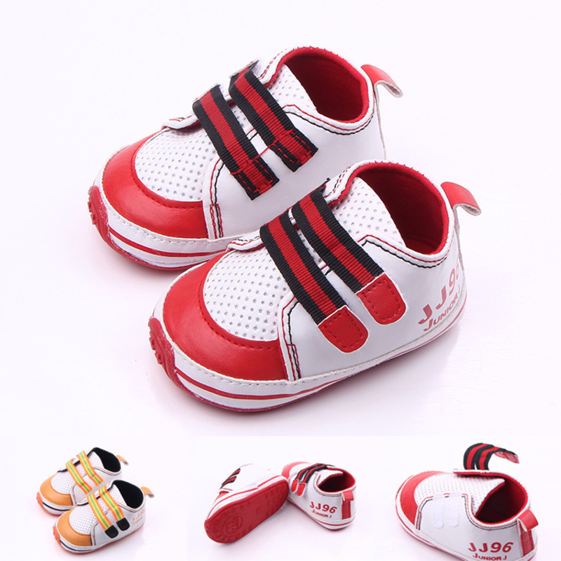 2084 newborn fashion spring autumn cute baby boy soft sole toddler shoes non slip infant crib shoes PU leather striped sewing