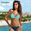 HolaSukey 2018 New Bikinis Sexy Bandage Bikini Set Print Striped Women Swimwear Halter Top Swimsuits Female
