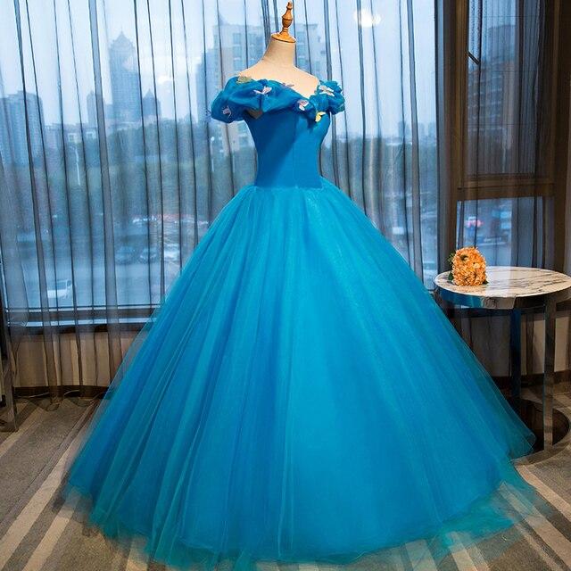 bfc3664d8 Vestido de quinceanera sweet 16 años niñas vestido formal princesa  cenicienta vestido de bola azul real